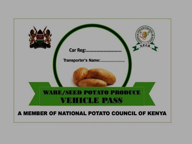 A sample transport pass for potato farmers.